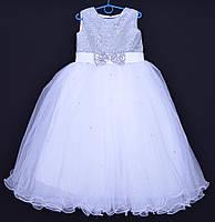 """Нарядное детское платье """"Зарина"""". 6-7 лет. Бело-серебристое. Оптом и в розницу"""