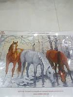 Основа для вышивания бисером, Кони зимой, авторская канва, 39*26 см, фото 1