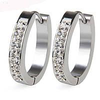Женские серьги кольца ювелирная сталь с фианитами steel