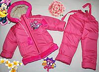 Зимний  детский комбинезон + куртка на девочку, набивная овчина, размеры 1,2,3 года