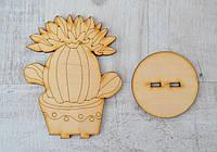 Заготовка из фанеры Кактус цветущий 2 шт, упаковка 15х12 см., фото 1