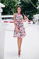 Милое платьеце в цветочный принт с поясом, фото 3