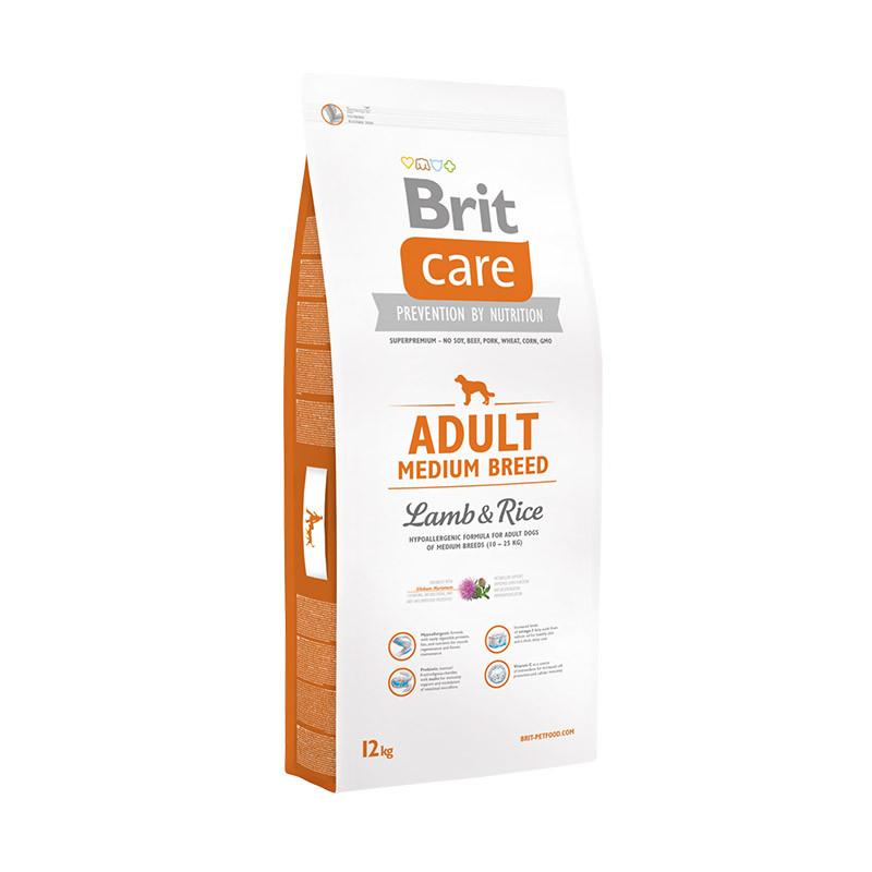 Brit Care Adult Medium Breed Lamb & Rice Гипоаллергенная формула для взрослых собак средних пород 12кг