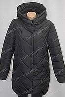 Очень теплая женская зимняя куртка черная  батал 48-56р