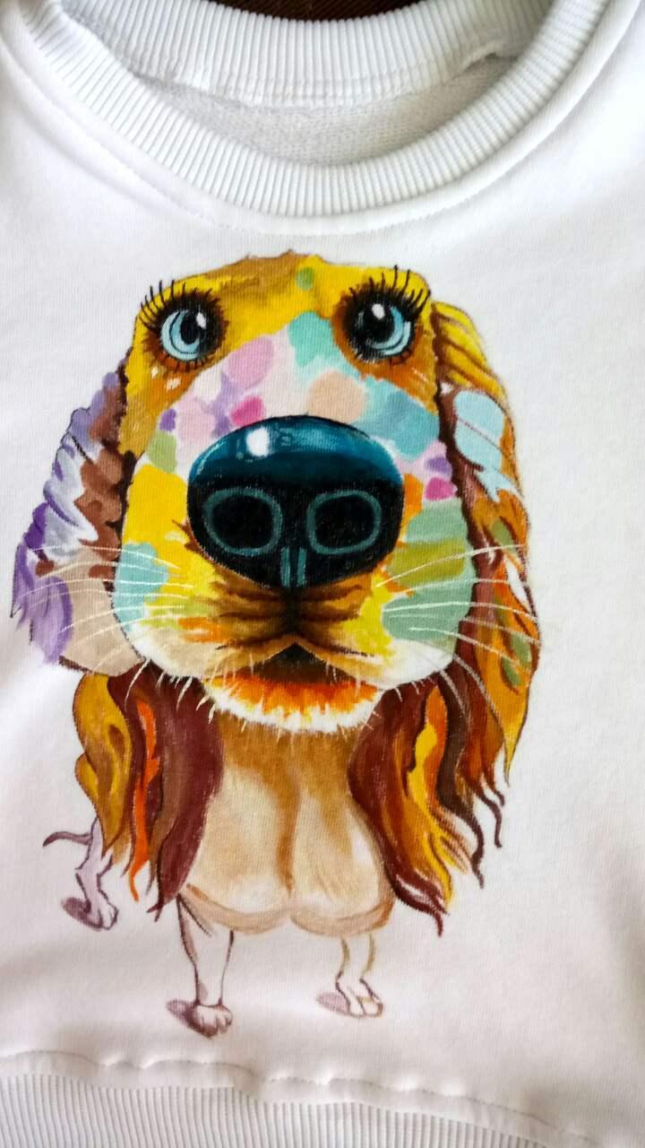 Свитшот с ручной росписью Собачка