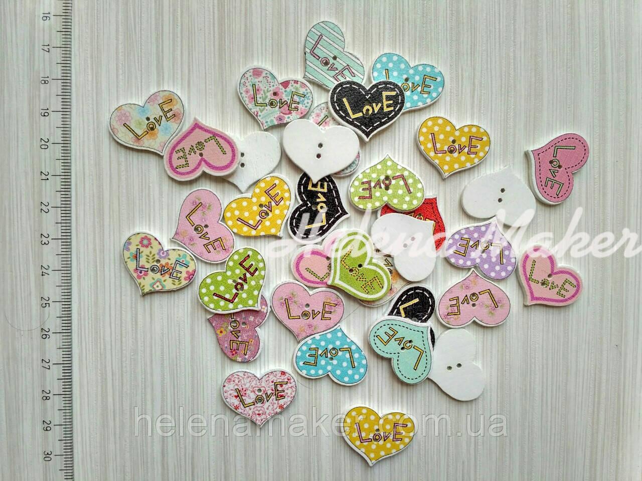 Пуговица деревянная Сердечко Love 20*25 мм