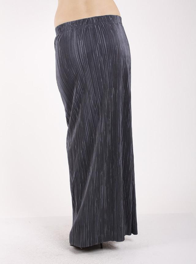 Гофрированная юбка в пол серая Ю79