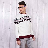 Белый свитер мужской c геометрическим узором Турция W11-001white