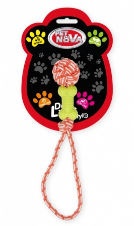 Іграшка для собак Кісточка на мотузці Pet Nova 40 см жовтий