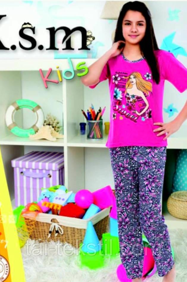 KSM пижама на девочку штаны и футболка тоненький хлопок (5-14 лет)