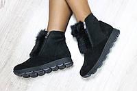 Женские зимние ботинки на двух замках с ушками