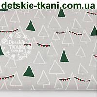 """Ткань хлопковая """"Ёлки-треугольники """" зелёного цвета, № 977 б"""