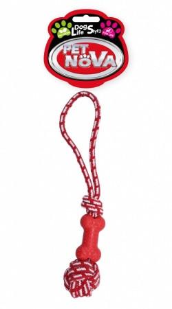Игрушка для собак Кость на веревке Pet Nova 40 см красный
