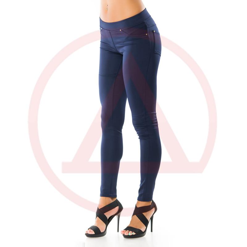 Женские модные лосины брючные с карманами 1L-125d.blue  женские лосины