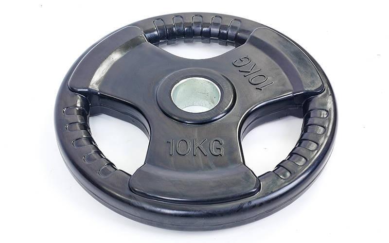Млинці (диски) обгумовані з потрійним хватом і металевою втулкою d-52мм 10кг