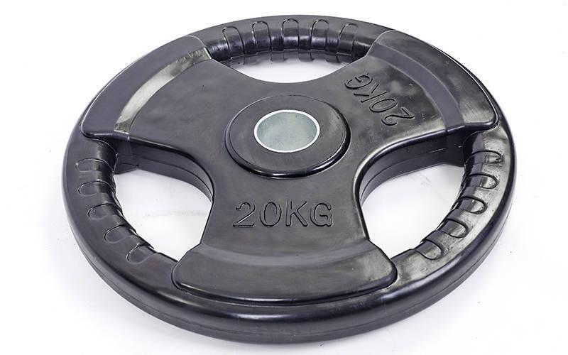 Млинці (диски) обгумовані з потрійним хватом і металевою втулкою d-52мм 20кг