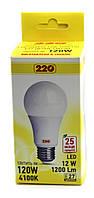 Лампа LED А65 12Вт 220В Е27 4100К 220тм