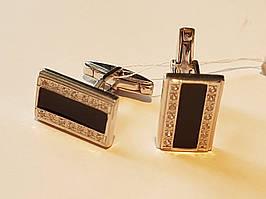 Серебряные запонки с фианитами и эмалью. Артикул 8630р