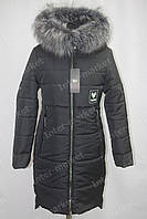 Чорне жіноче зимове пальто з капюшоном 44-52р