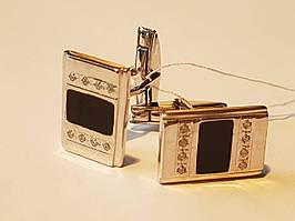Серебряные запонки с фианитами и эмалью. Артикул 8622р