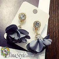 Серьги сережки Цветок Элегантные серые из ткани лепестки кристалл Роскошные