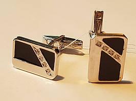Серебряные запонки с фианитами и эмалью. Артикул 8612р