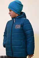 """Зимняя теплая и легкая курточка """"Стив"""" для мальчика 3-10 лет (размер 98-140) ТМ PoliN line Изумруд"""
