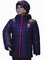 """Зимняя теплая и легкая курточка """"Стив"""" для мальчика 3-10 лет (размер 98-140) ТМ PoliN line Темно-синий"""