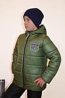 """Зимняя теплая и легкая курточка """"Стив"""" для мальчика 3-10 лет (размер 98-140) ТМ PoliN line Хаки"""