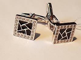 Серебряные запонки с фианитами и эмалью. Артикул 8608р