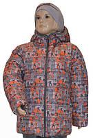 Зимняя теплая и легкая курточка для мальчика 3-5 лет (размер 98-110) ТМ PoliN line принт Скейт на сером