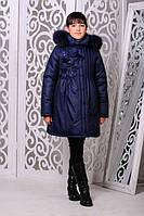 Зимняя теплая куртка «Герда» на девочку 7-11 лет (зимняя коллекция 2017/18 размер 32-40/122-146 см) ТМ MANIFIK Джинс