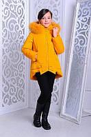 Зимняя теплая куртка «Бант» на девочку 7-11 лет (размер 32-40/122-146 см, натур. мех) ТМ MANIFIK Горчичный