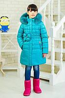 Зимняя теплая куртка «Гламур» на девочку 5 лет (р. 28/110 см, утеплитель силикон) ТМ MANIFIK Бирюзовый