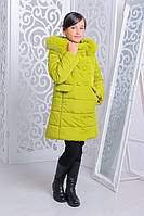 Зимняя теплая куртка «Катрина» на девочку 7 лет (р. 32/122 см, утеплитель силикон) ТМ MANIFIK Лайм