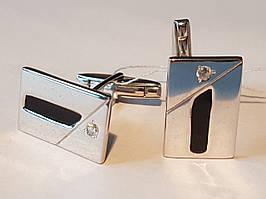 Срібні запонки з фіанітами і емаллю. Артикул 8613р
