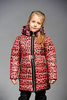 Зимняя теплая куртка «Машенька-зима» принт/5 на девочку 7,8 лет (р. 32,34/122,128 см, утеплитель холлофайбер) ТМ MANIFIK
