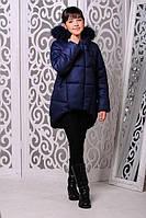 Зимняя теплая куртка «Мая» на девочку 7-11 лет (зимняя коллекция 2017/18 размер 32-40/122-146 см) ТМ MANIFIK Джинс