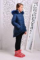 Зимняя теплая куртка «Мая Нова» на девочку 7-11 лет (зимняя коллекция 2017/18 размер 32-40/122-146 см) ТМ MANIFIK Волна