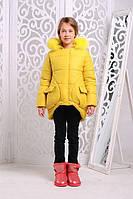 Зимняя теплая куртка «Мая Нова» на девочку 7-11 лет (зимняя коллекция 2017/18 размер 34-40/128-146 см) ТМ MANIFIK Желтый