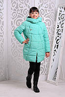 Зимняя теплая куртка «Ольга» на девочку 7-11 лет (размер 32-40/122-146 см, утеплитель силикон) ТМ MANIFIK Минт