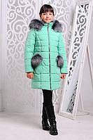 Зимняя теплая куртка «Рукавичка» на девочку 7-11 лет (зимняя коллекция 2017/18 размер 32-38/122-140 см) ТМ MANIFIK Минт