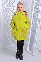 Зимняя теплая куртка «Сандра» на девочку 6-11 лет (размер 30-40 / 116-146 см, натурал. мех) ТМ MANIFIK Лаймовый