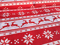 """Польская хлопковая ткань """"олени красные новогодние на белом"""""""