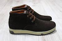 Зимние ботинки коричневая замша