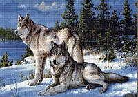 Алмазная вышивка 5D, Волки 3025