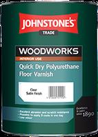 Полиуретановый лак для пола на водной основе 5л Johnstone's Quick Dry Polyurethane Floor varnish Satin шелк