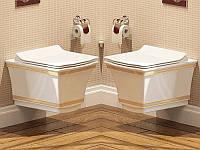 Унитаз подвесной  IDEVIT Neo Classic (3304-0616-0088) белый/декор золото