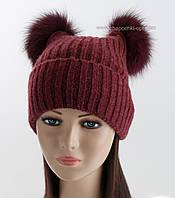 Вязаная женская шапочка 2 помпона