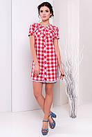 """Платье - рубашка """"Массимо 3813"""" Красный/белый 5/6 клетка S"""